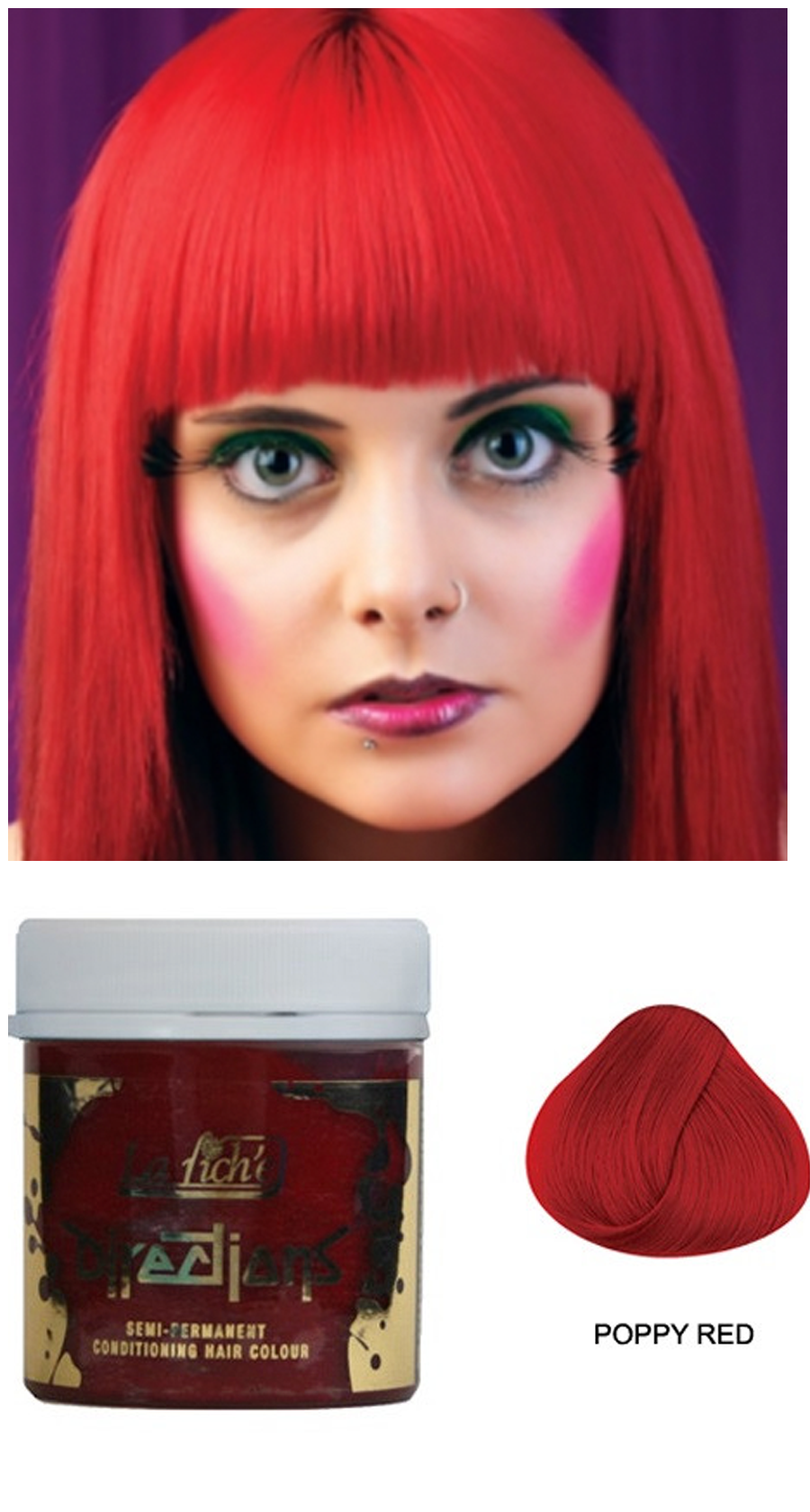 La Riche Directions Semi Permanent Hair Color Dye Poppy Red My